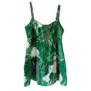 Beth Bowley Green White Silk Top Sz 4